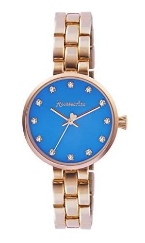 Accessorize WomenHerren Quarzuhr mit blauem Zifferblatt Analog-Anzeige und AZ4002 Armband Rotgold