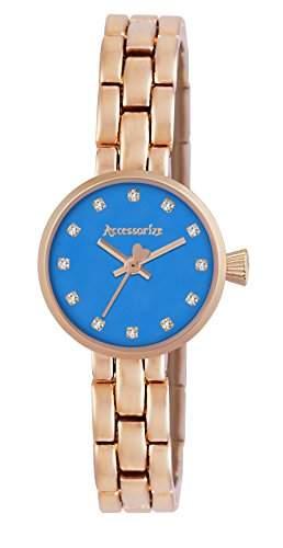 Accessorize WomenHerren Quarzuhr mit blauem Zifferblatt Analog-Anzeige und AZ4007 Armband Rotgold