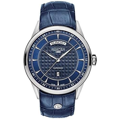 ROAMER 508293 SL2 Superior Uhr Herrenuhr Lederarmband Edelstahl 50m Analog Datum blau