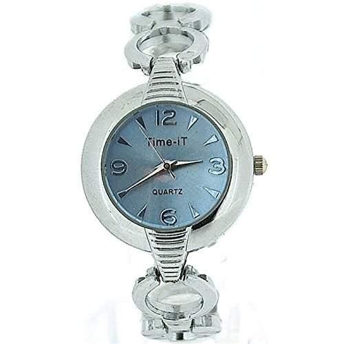 Time-iT Damenuhr, blaues Zifferblatt, Armband mit runden offenen Gliedern T24