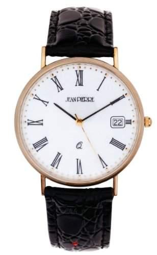 Gents 9ct Gold-Armbanduhr - roemische Ziffern und Datum - Schwarzes Lederarmband