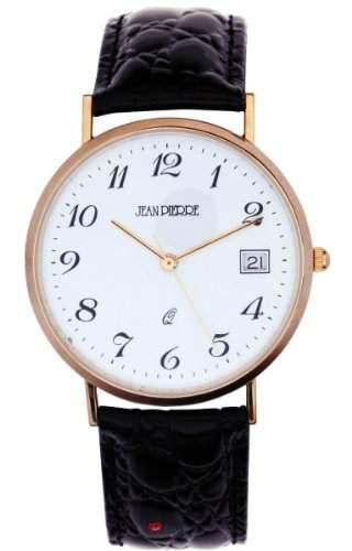 Gents 9ct Gold-Standard-Armbanduhr mit Ziffern und Datum - Schwarzes Lederarmband
