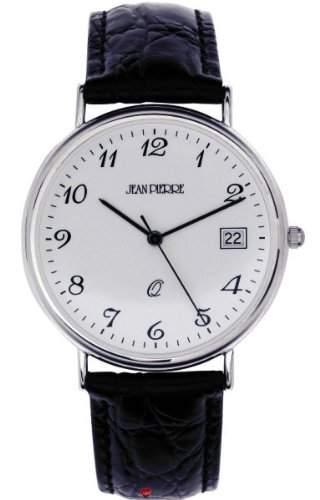 Gents Sterling Silber Armbanduhr mit Standard-Ziffern und Datum - Schwarzes Lederarmband