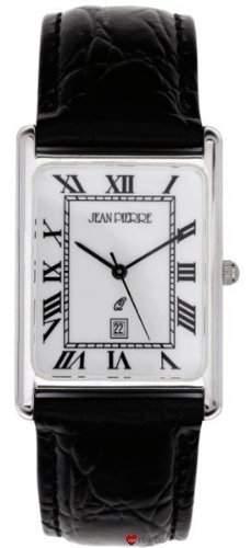 Gents Sterling Silber Armbanduhr Rechteckige roemischen Ziffern - schwarzes Lederarmband