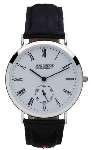Gents Sterling Silber Armbanduhr mit roemischen Ziffern und Datum - Schwarzes Lederarmband
