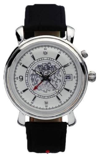 Gents Sterling Silber Alarm Armbanduhr mit Datum - schwarzes Lederarmband