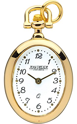 Classic Pendant Fob Watch Open Faced Gold Plated Oval on Chain Quartz Gift