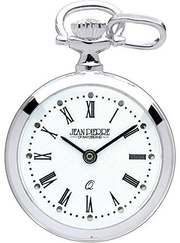 Classic Pendant Fob Watch Sterling Silver Open Faced Roman Numerals Quartz