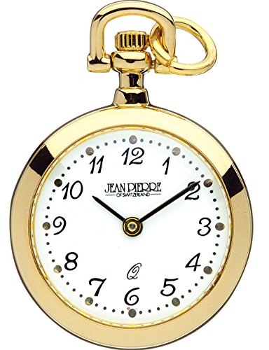 Classic Pendant Watch Open Faced Gold Plated on Chain Standard Number Quartz