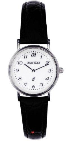 Damen Sterling Silber Armbanduhr mit Standard Ziffern schwarzes Lederarmband