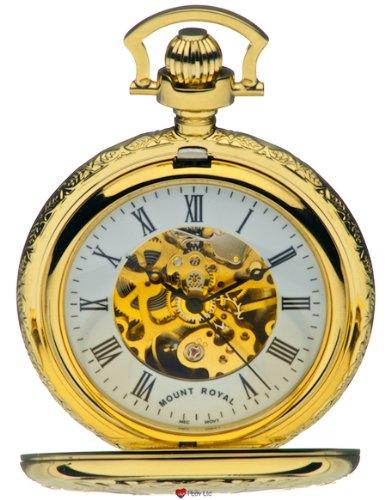 Skeleton Uhr vergoldet Sehr Detaillierte Haelfte Hunter 17 Jewel Movement