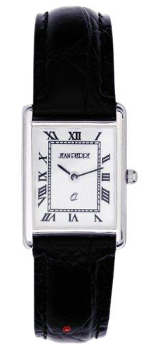 Damen Sterling Silber Armbanduhr Rechteckige roemischen Ziffern schwarzes Lederarmband
