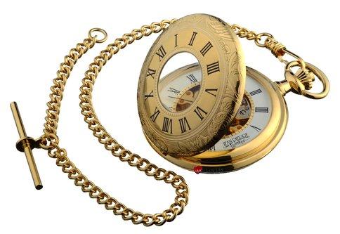 Taschenuhr vergoldet Verziert Haelfte Hunter mit 17 Jewel Movement