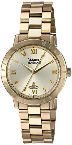 Vivienne Westwood Bloomsbury mit goldfarbenem Analog Display und goldfarbenem Edelstahl Armband VV152GDGD