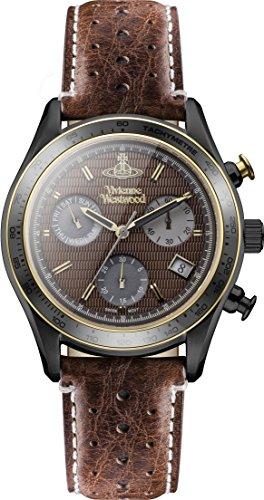 Vivienne Westwood Sotheby Herren Quarz Uhr mit Braun Zifferblatt Chronograph Anzeige und braun Lederband vv142brbr