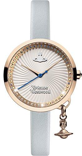 Vivienne Westwood Schleife Damen Quarzuhr mit Silber Zifferblatt Analog Anzeige und Blau Lederband vv139rsbl