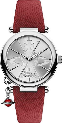 Vivienne Westwood Orb Pop Damen Quarzuhr mit Silber Zifferblatt Analog Anzeige und rotem Lederband vv006ssrd