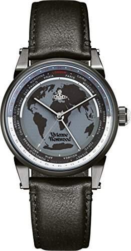 Vivienne Westwood Herren-Armbanduhr Finsbury World Analog Quarz Leder VV065MBKBK