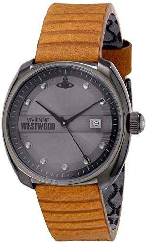 Vivienne Westwood Vv080gntn Bermondsey Grau & Tan Leder Herrenuhr Leather