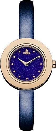 Vivienne Westwood Edge Night womenHerren Quarzuhr mit blauem Zifferblatt Analog-Anzeige und navy VV097NVNV Leder