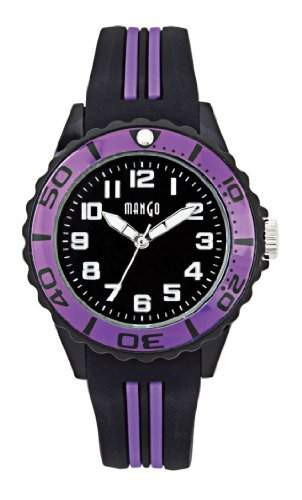 Mango Time Damen - Armbanduhr Analog Quarz Silikon l schwarz  violett A68359-2SS5A