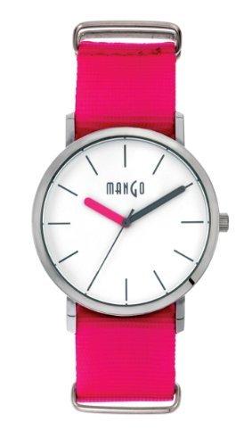 Mango Time Damen Armbanduhr Analog Quarz Nylon Himbeer A68376 1S0I