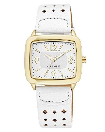 Nine West Damen Quarzuhr mit Rose Gold Zifferblatt Analog Anzeige und Weiss PU Armband NW 1080wtwt