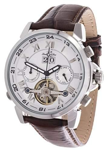 Lindberg & Sons Herren Automatikuhr mechanische Uhr mit skelettiertem Ziffernblatt - Skelettuhr - Skeleton - analoge Anzeige mit offener Unruh - Echtlederarmband und Edelstahlgehaeuse 41 mm - LS13G33