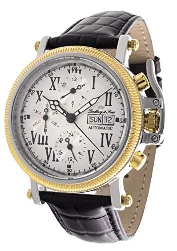 Lindberg & Sons Herren Automatikuhr mechanische Uhr mit analoge Anzeige - Echtlederarmband und Edelstahlgehaeuse 43 mm - LS13G15