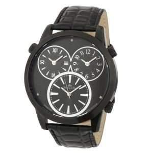 Lindberg & Sons Herren-Armbanduhr XL Quarz Analog Leder Schwarz - LS1131233