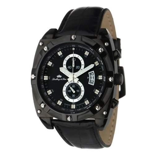 Lindberg&Sons Herren-Armbanduhr Analog Quarz Leder LS1132343