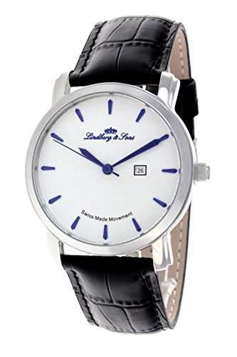 Lindberg & Sons Herren-Armbanduhr Quarz Analog Leder Schwarz - LS15SA1S