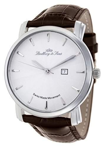Lindberg & Sons Herren-Armbanduhr Quarz Analog Leder Braun - LS15SA5
