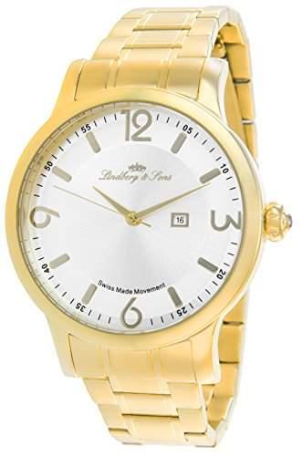 Lindberg&Sons Uhr mit schweizer Quarzuhrwerk goldfarben 36 mm