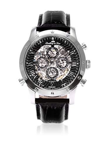 Lindberg & Sons Herren-Armbanduhr Automatik Analog Skelettuhr Leder Schwarz - SK14H002