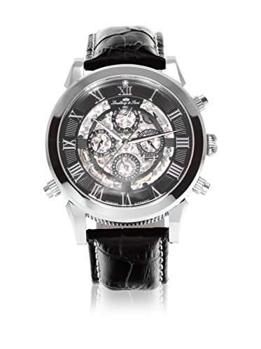 Lindberg & Sons Herren-Armbanduhr Automatik Analog Skelettuhr Leder Schwarz - SK14H011