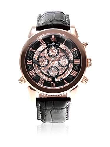 Lindberg & Sons Herren-Armbanduhr Automatik Analog Skelettuhr Leder Schwarz - SK14H013