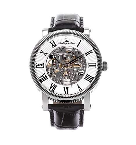 Lindberg & Sons Herren-Armbanduhr Automatik Analog Skelettuhr Leder Schwarz - SK14H017