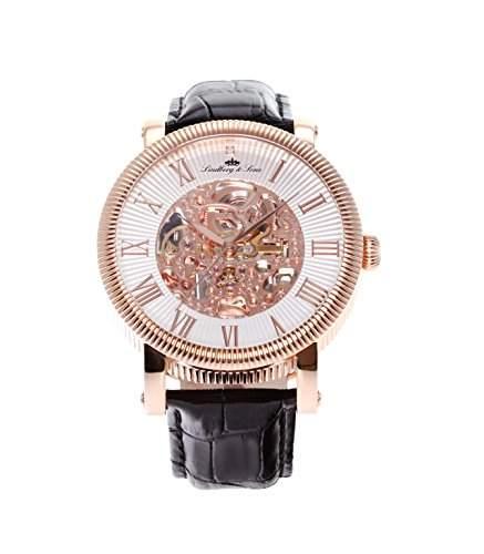 Lindberg & Sons Herren-Armbanduhr Automatik Analog Skelettuhr Leder Schwarz - SK14H019