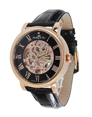 Lindberg & Sons Herren-Armbanduhr Automatik Analog Skelettuhr Leder Schwarz - SK14H020