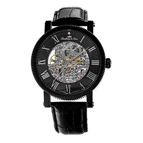 Lindberg & Sons Herren-Armbanduhr Automatik Analog Skelettuhr Leder Schwarz - SK14H021