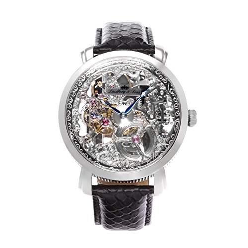 Lindberg & Sons Herren-Armbanduhr Handaufzug Analog Skelettuhr Leder Schwarz - SK14H061