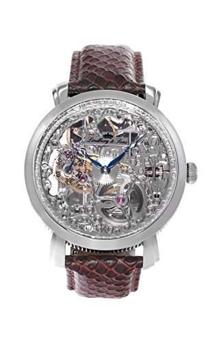 Lindberg & Sons Herren-Armbanduhr Handaufzug Analog Skelettuhr Leder Braun - SK14H063