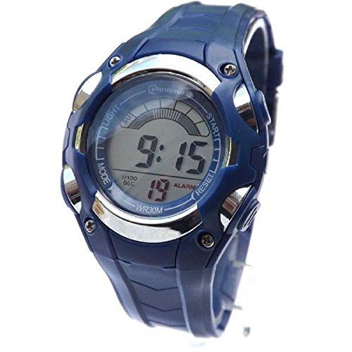 Armbanduhr fuer Damen Quarz digital Stoppuhr sportlich mit Alarm wasserdicht blau