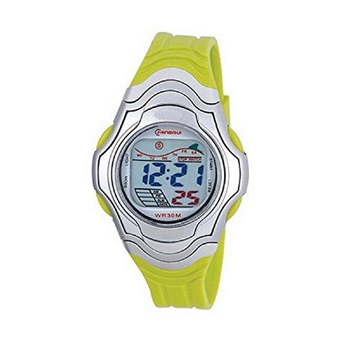 Armbanduhr fuer Kinder Quarz digital Stoppuhr sportlich mit Alarm wasserdicht Gruen