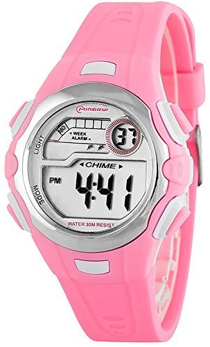 Digitale kleine MINGRUI Armbanduhr fuer Damen und Kinder Alarm Stoppuhr Datum P74G10H 1