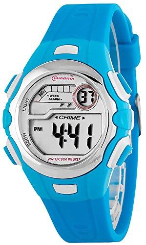 Digitale kleine MINGRUI Armbanduhr fuer Damen und Kinder Alarm Stoppuhr Datum P74G10H 2