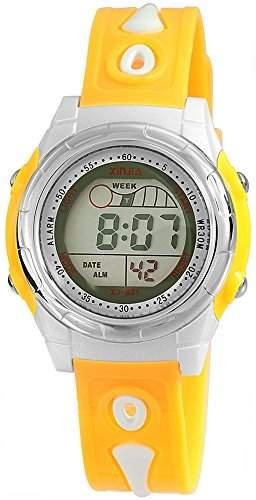 XINJIA Unisex Digital Armbanduhr mit Quarzwerk 201084000007 und Kunststoffarmband in Gelb mit Dornschliesse Bandgesamtlaenge 23 cm, Funktion Alarm, Stoppuhr Armbandbreite 20 mm