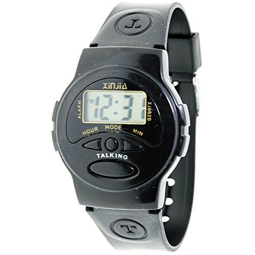 Sprechende Uhr Handgelenk Uhr Digital Kautschuk schwarz Sprache Spanisch xj 662s
