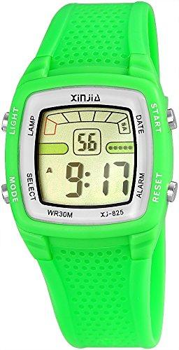 Xinjia Damenuhr Herrenuhr Kinderuhr Gruen Digital Alarm Chrono Datum Quarz